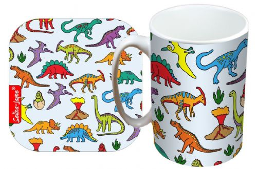 Selina-Jayne Dinosaurs Limited Edition Designer Mug and Coaster Set